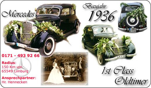 Hochzeit Oldtimer Mercedes 1936 - TOP